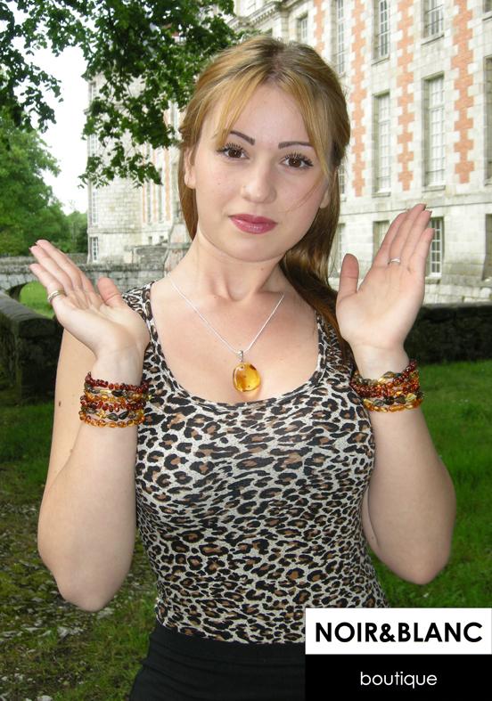 bracelet ambre miel - Coloration Miel Ambr