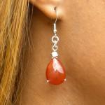 Boucles d'oreilles en agate rouge