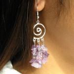 Boucles d'oreilles baroques en améthyste avec spirale