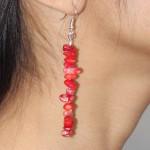 Boucles d'oreilles baroques en corail rouge