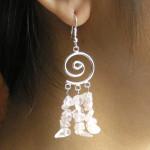 Boucles d'oreilles baroques en quartz rose avec spirale