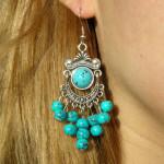 Boucles d'oreilles tibétaines en perles couleur turquoise