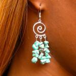 Boucles d'oreilles baroques en turquoise avec spirale