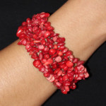 Bracelet baroque en corail rouge