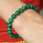 Bracelet malachite avec perles fines