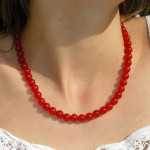 Collier en agate rouge