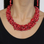 Collier baroque corail rouge