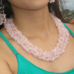Collier baroque en quartz rose