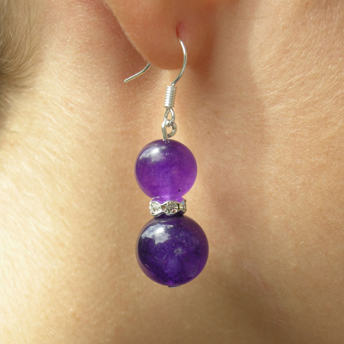 boucle d 39 oreille am thyste bijoux femme en pierres semi pr cieuses jade lapis lazuli amethyste. Black Bedroom Furniture Sets. Home Design Ideas