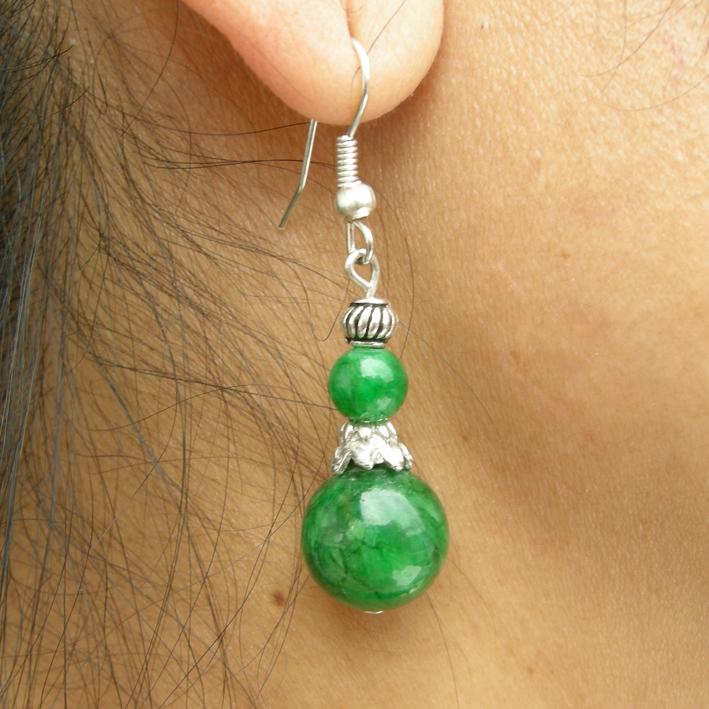 Boucle d'oreille argent en pierre verte